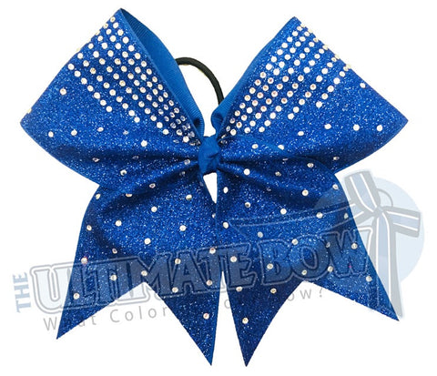 rhinestone glitter cheer bow - competitons chee bow - royal blue glitter cheer bow - glitter and rhinestone cheer bow