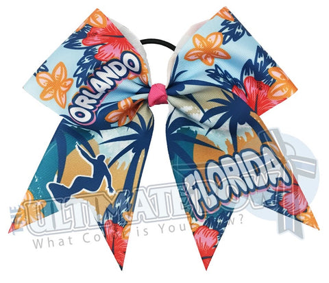 Tropical Orlando Florida - Travel Cheer Bow