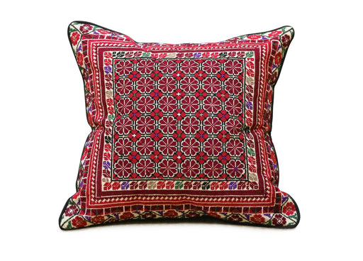 Pillow Cover Embroidered with Traditional Palestinian Patterns-Red