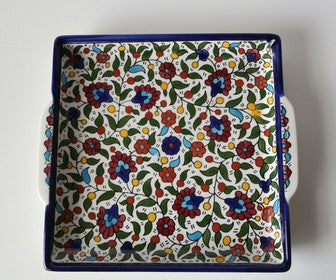 Hebron Ceramic Dish/Tray with Colorful Arabesque