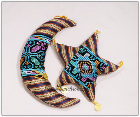 Ramadan Crescent and Star Hanging Pillow Set