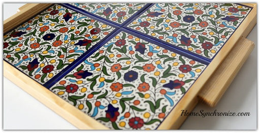 Wooden Tray w/Armenian Ceramic Tiles