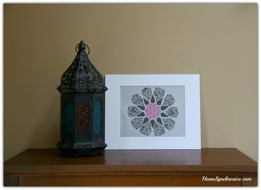 Islamic Art Print, Islamic star, Matted 11 x 14""