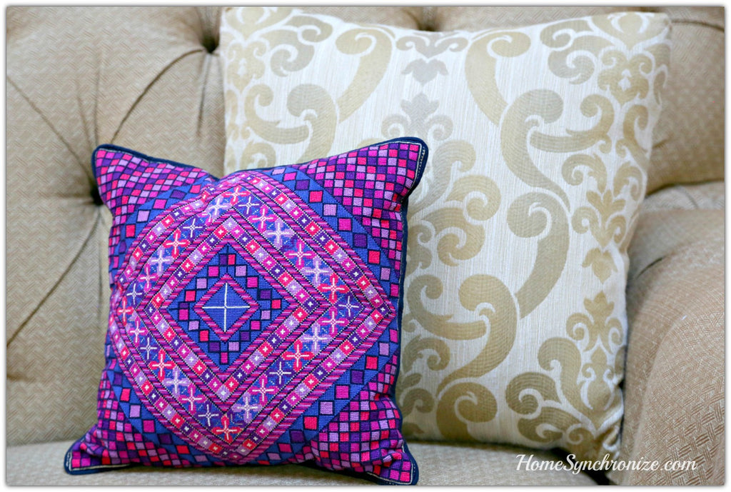 Palestinian Embroidery Pillow Cover-Purple