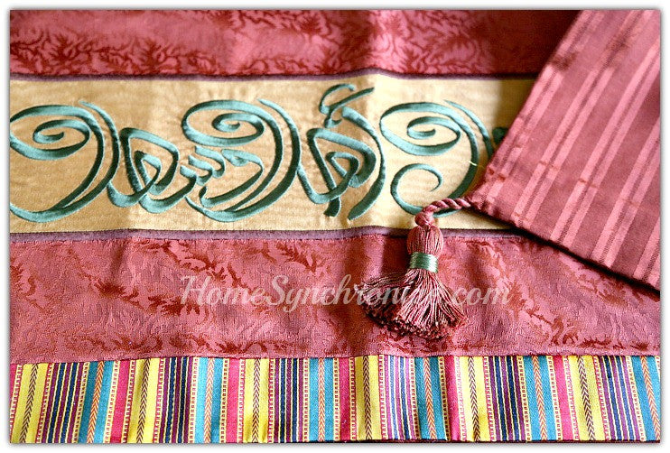 Middle Eastern Decor, Table Runner embroidered with Arabic Calligraphy, Arabian Table Runner, Ahlan Wa Sahlan, Welcome, 14 x 32""