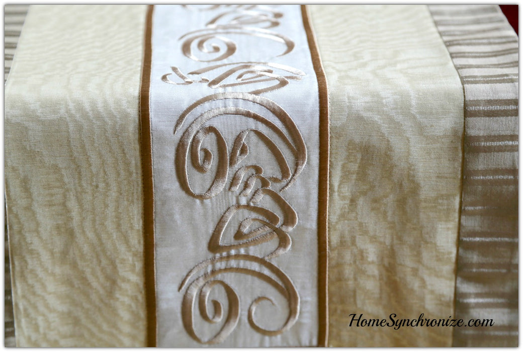 Middle Eastern Decor, Long Table Runner embroidered with Arabic Calligraphy, Arabian Table Runner, Ahlan Wa Sahlan, Welcome,