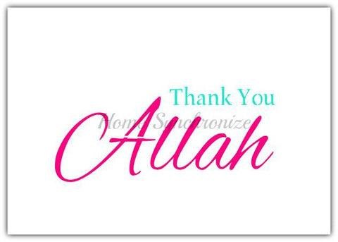 Thank you Allah-Reusable stencil-Islamic Calligraphy-English Text-Alhamdulilah