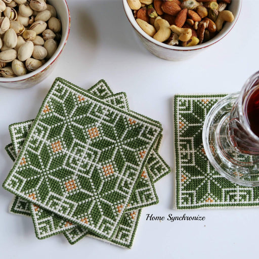 Coasters Adorned with Palestinian Embroidery