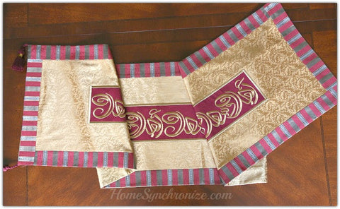 embroidered table runner red and gold