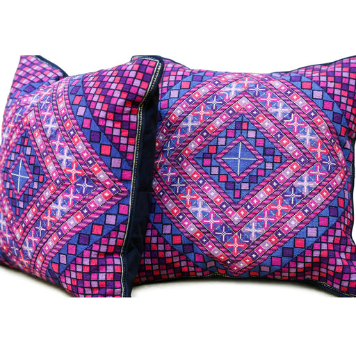 Palestinian Home Decor-Embroidered Handmade Decorative Palestinian Pillow Cover-Purple-13 x 13""