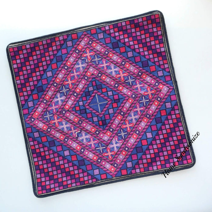 Pillow Cover Hand Stitched with Palestinian Patterns-Purple