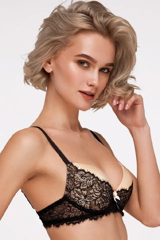 Бюстгальтер push-up с кружевом MM-1129 black/beige