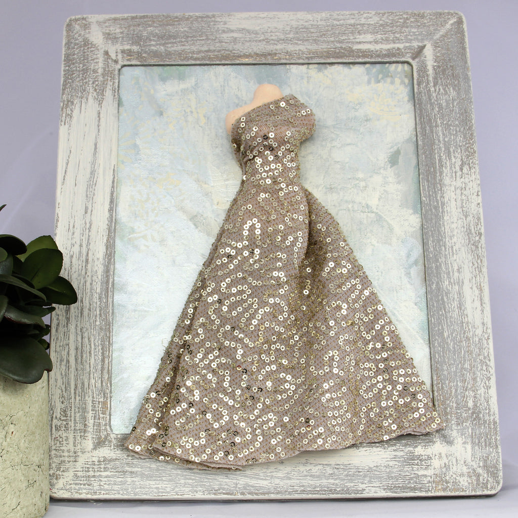 3D Dress - Gold Sparkle Dress