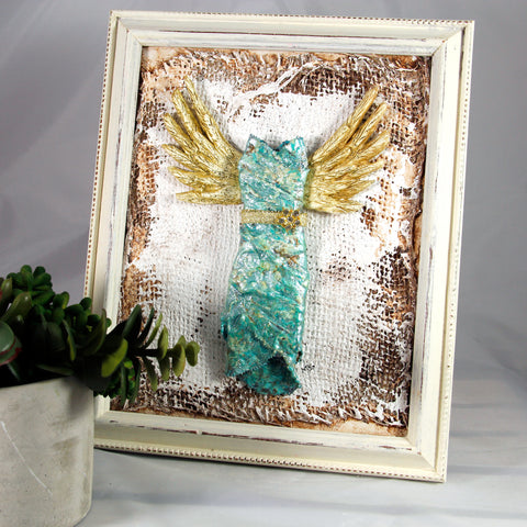 3D Dress - Angel in Teal with Gold Wings 3