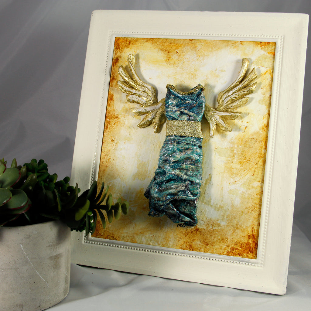 3D Dress - Angel - Teal with Gold Rope