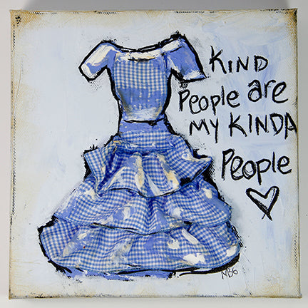 Blue Checkered Dress - Kind People are My Kinda People 8x8