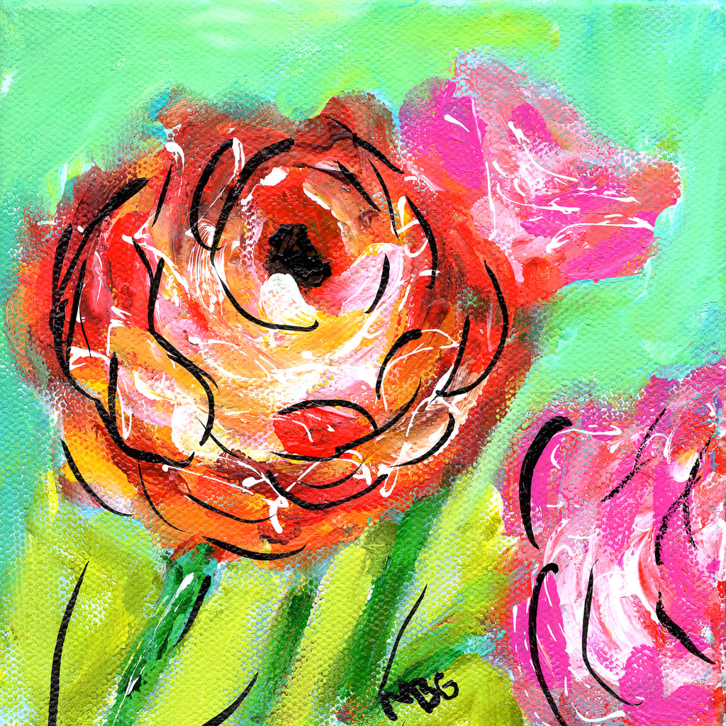Red and Pink Flowers 6x6
