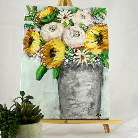 Sunflower in Tin 12x16