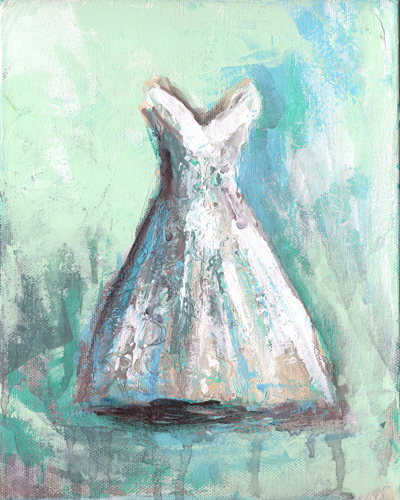 White Teal 1  Dress