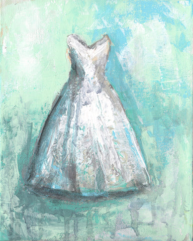 White Teal  Dress