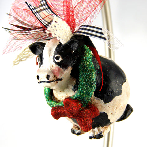 3D Ornament - Cow with Red Bow