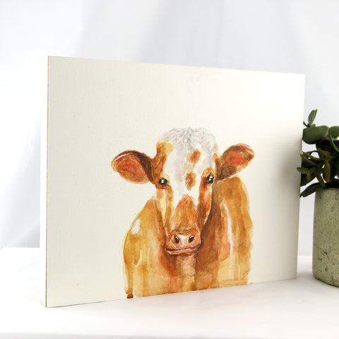 Watercolor Cow 8x10