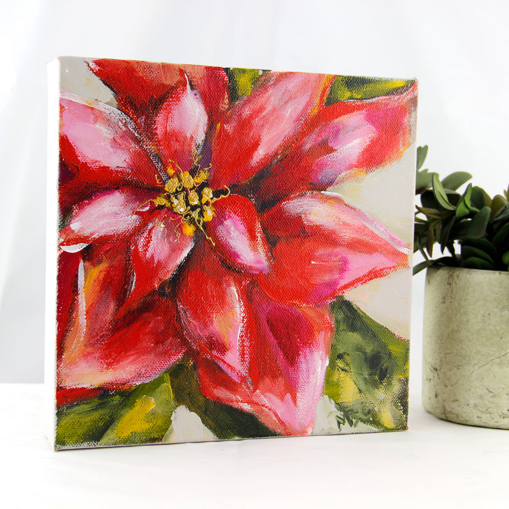 Red Poinsettia 8x8
