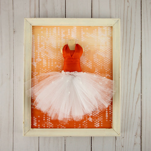 3D Dress - Orange and White Dress