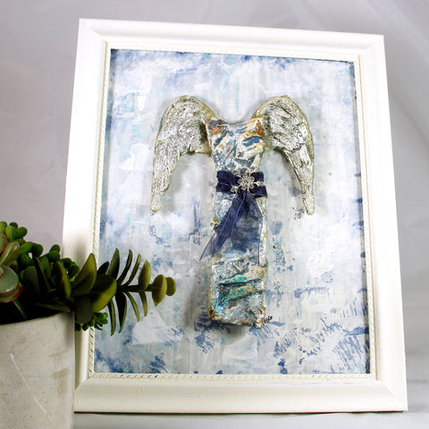 3D Dress - Angel - Blue with Silver Wings