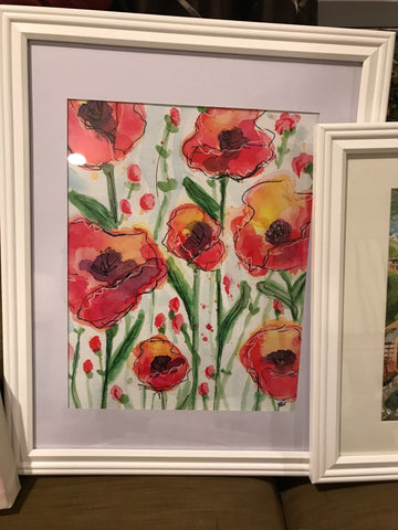 Framed Print- Red Poppies Watercolor 11x14