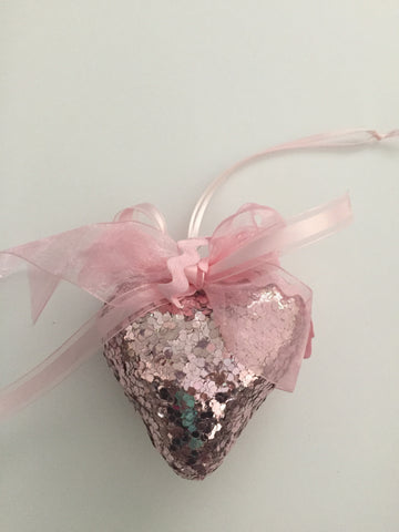 3D Ornament - Pink Gliter Heart