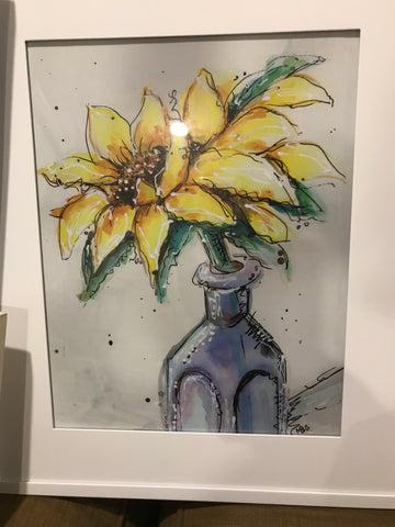 Framed Print - Yellow Sunflower Watercolor 11x14