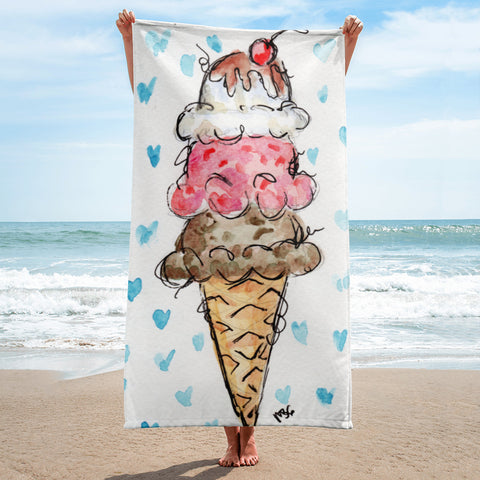 Ice Cream Cone Beach Towel