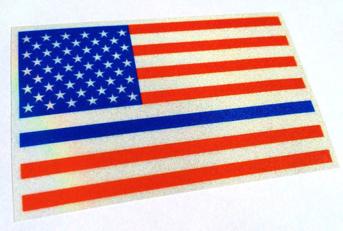 COLOR THIN BLUE LINE REFLECTIVE US FLAG DECAL STICKER - Tactical Wear