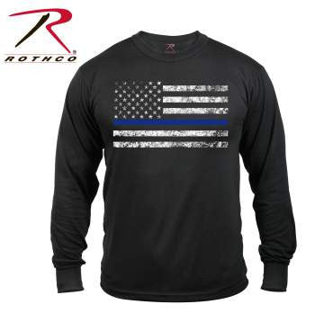 Rothco Long Sleeve Thin Blue Line T-Shirt - Tactical Wear