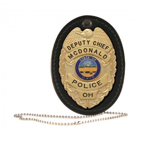 OVAL BADGE HOLDER, HOOK AND LOOP CLOSURE WITH CHAIN - Tactical Wear