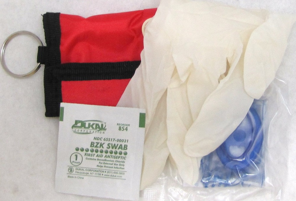 CPR Mask w/ Pouch, Gloves & Wipe