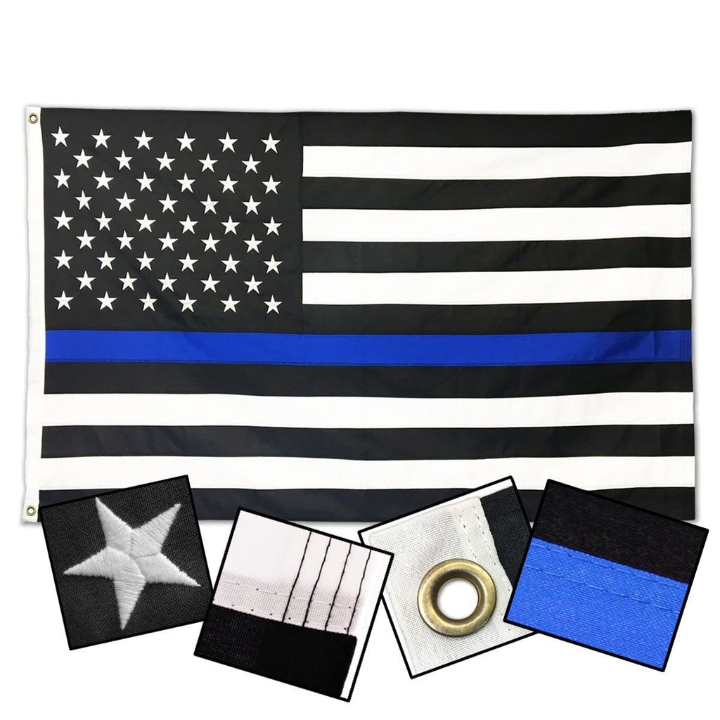 DURASLEEK™ - THIN BLUE LINE AMERICAN FLAG - SEWN & EMBROIDERED