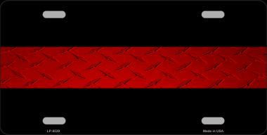 FIRE DIAMOND THIN RED LINE WHOLESALE METAL NOVELTY LICENSE PLATE - Tactical Wear