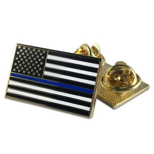 Classic Thin Blue Line American Flag Pin, Double Clutch Backing