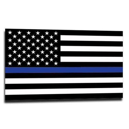 Thin Blue Line American Flag Sticker, 2.5 x 4.5 Inches