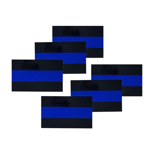 Reflective Thin Blue Line License Plate Stickers, 1 x .75 Inches, 6 Pack