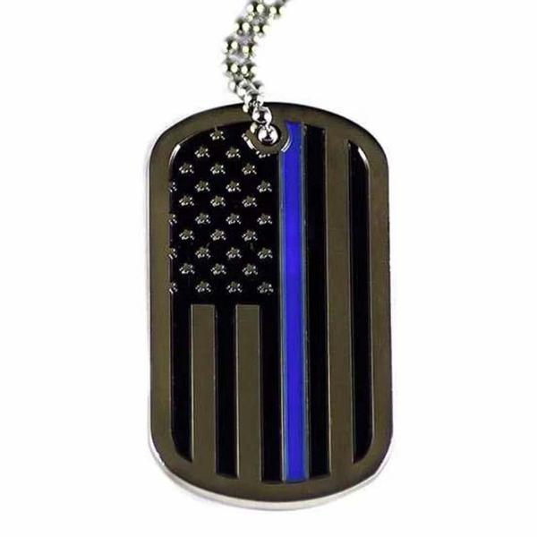 THIN BLUE LINE FLAG DOG TAG