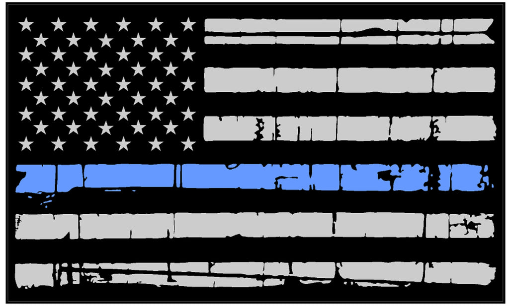 TATTERED THIN BLUE LINE REFLECTIVE AMERICAN FLAG DECAL STICKER