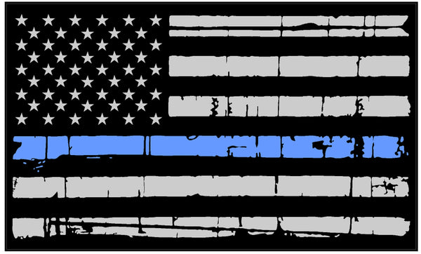 Tattered Thin Blue Line Reflective American Flag Decal