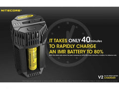 Nitecore V2 Smart Battery Charger - Includes DC Cable