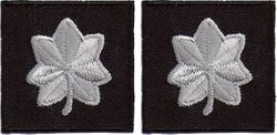 "Police Major Insignia Silver on NAVY 1.25""  SEW-ON Collar Patch- Pair"