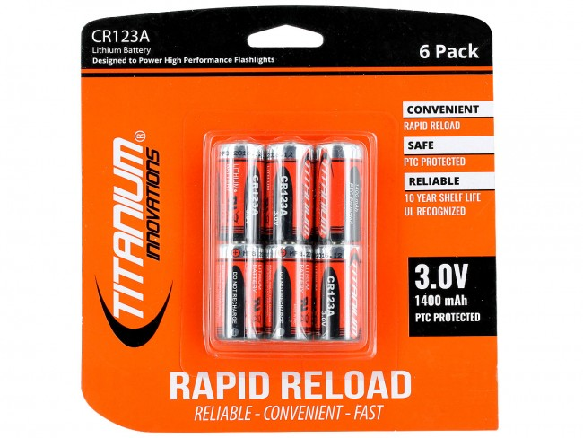 Titanium Innovations CR123A 3V Lithium Photo Battery - 1400mah - 6 Pack Retail Card - Tactical Wear