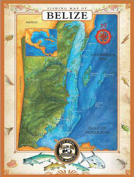 "Yellow Dog ""Fishing Map of Belize"" Limited Edition Poster"