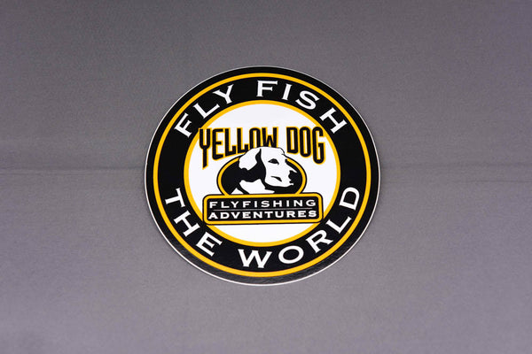 "Yellow Dog ""Fly Fish the World"" Sticker (4"")"